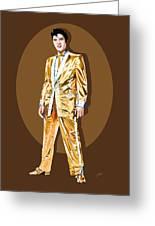 Gold Lamee Elvis Greeting Card by Jarod