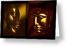 Gold Masks Greeting Card by Hartmut Jager