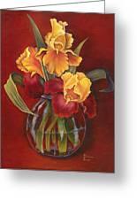 Gold N Red Iris Greeting Card by Doreta Y Boyd