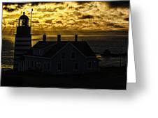 Golden Backlit West Quoddy Head Lighthouse Greeting Card by Marty Saccone