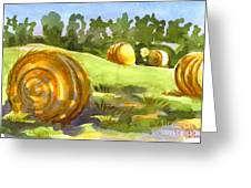 Golden Bales In The Morning Greeting Card by Kip DeVore