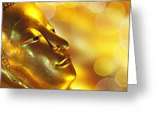 Golden Buddha Greeting Card by Delphimages Photo Creations