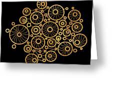 Golden Circles Black Greeting Card by Frank Tschakert