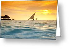 Golden Dhoni Sunset Greeting Card by Sean Davey
