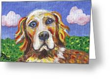 Golden Dog Greeting Card by Linda Mears