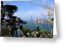 Golden Gate Bridge And Wildflowers Greeting Card by Carol Groenen