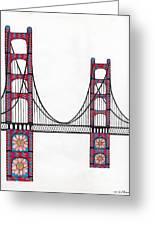 Golden Gate Bridge By Flower Child Greeting Card by Michael Friend