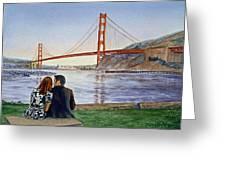 Golden Gate Bridge San Francisco - Two Love Birds Greeting Card by Irina Sztukowski