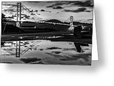 Golden Gate Bridge Self Reflection Greeting Card by Dave Gordon