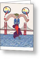 Golden Gate Lady And Wine Greeting Card by Michael Friend