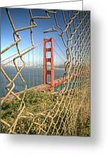 Golden Gate Through The Fence Greeting Card by Scott Norris