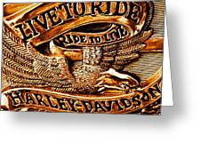 Golden Harley Davidson Logo Greeting Card by Chris Berry