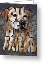 Golden Labrador Retriever Typography Art Greeting Card by Georgeta Blanaru
