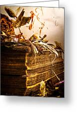 Golden Pages Falling Flowers Greeting Card by Bob Orsillo