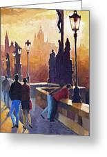 Golden Prague Charles Bridge Greeting Card by Yuriy Shevchuk