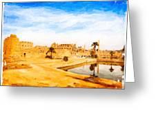 Golden Ruins Of Karnak Greeting Card by Mark E Tisdale