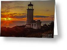 Golden Sunset At North Head Lighthouse Greeting Card by Robert Bales