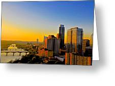 Golden Sunset In Austin Texas Greeting Card by Kristina Deane