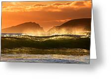 Golden Wave Greeting Card by Florian Walsh