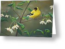Goldfinch And Snowbells Greeting Card by Peter Mathios