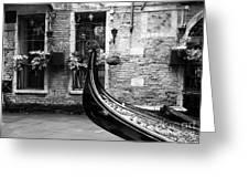 Gondola In Venice Bw Greeting Card by Mel Steinhauer
