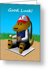 Good Luck Baseball Dog Greeting Card by Jeanette K