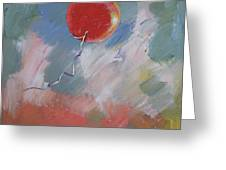 Goodbye Red Balloon Greeting Card by Michael Creese