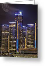 Gotham Detroit Greeting Card by Nicholas  Grunas