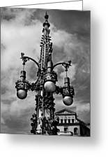 Gothic Lamp Post In Barcelona Greeting Card by Denise Dube