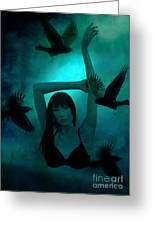 Gothic Surreal Ravens With Asian Girl Greeting Card by Kathy Fornal