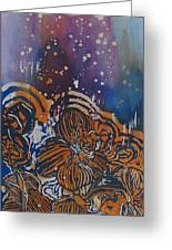 Graceful Wild Orchids In Blue/orange Greeting Card by Beena Samuel