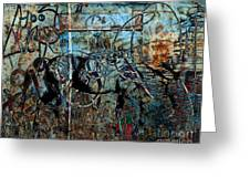 Graffiti Horse Blues Greeting Card by Judy Wood