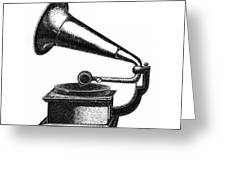 Gramophone Greeting Card by Christy Beckwith