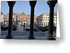 Grand Canal Viewed Through Columns Greeting Card by Sami Sarkis