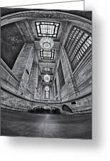 Grand Central Corridor Bw Greeting Card by Susan Candelario