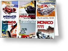 Grand Prix Of Monaco Vintage Poster Collage Greeting Card by Don Struke