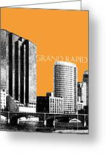 Grand Rapids Skyline - Orange Greeting Card by DB Artist