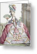 Grand Robe A La Francais, Engraved Greeting Card by Claude Louis Desrais