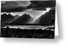 Grand Teton Light Beams Greeting Card by Aidan Moran