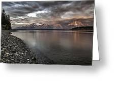 Grand Teton Mountain Range In  Grey And Pink Morning Sunlight Greeting Card by Jo Ann Tomaselli
