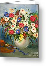 Grandma's Hat And Bouquet Greeting Card by Janice Rae Pariza