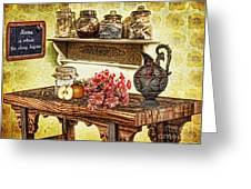 Grandma's Kitchen Greeting Card by Mo T