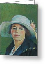 Grandmother In Pastel Greeting Card by Janet Ashworth