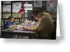 Grandpas Workbench Greeting Card by Sam Sidders