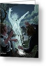 Graveyard Digger Ghost Rising From Grave Greeting Card by Martin Davey