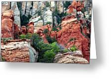 Gray And Orange Sedona Cliff Greeting Card by Carol Groenen