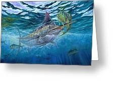 Great Blue And Mahi Mahi Underwater Greeting Card by Terry Fox