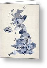 Great Britain Uk Watercolor Map Greeting Card by Michael Tompsett