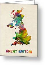 Great Britain Watercolor Map Greeting Card by Michael Tompsett