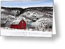 Great Canadian Red Barn In Winter Greeting Card by Peter v Quenter